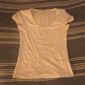 NWOT White Basic Scoop Neck Short Sleeved Top